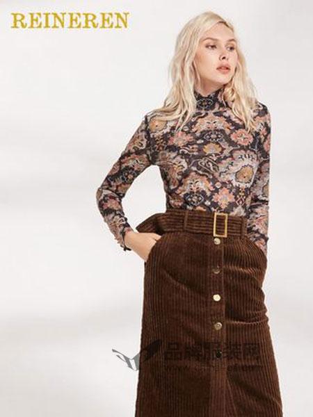 REINEREN女装品牌2018冬季袖口金扣复古印花高领修身打底衫