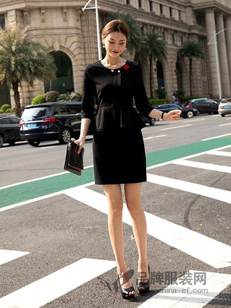 琪琳缦女装品牌2018秋冬黑色S型修身钉珠高腰连衣裙