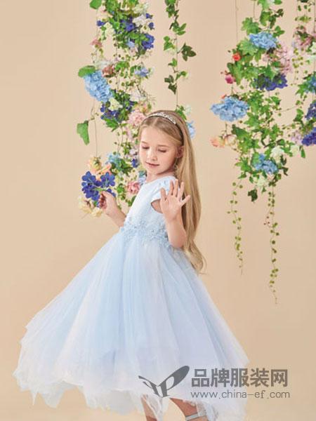 pencilmini迷你铅笔童装品牌2019春夏长款花童礼服女童蓬蓬裙子