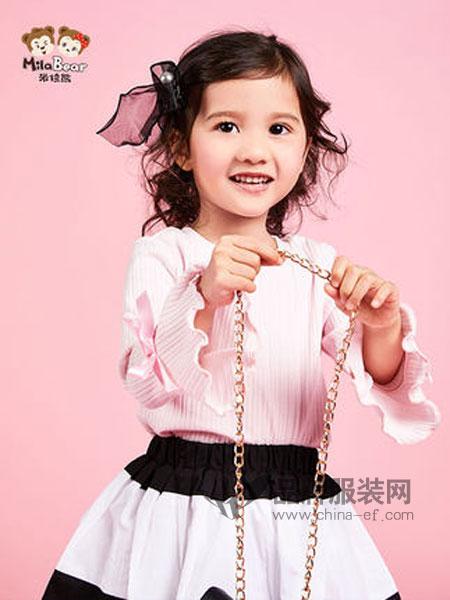 米拉熊童装品牌2019春季长袖T恤喇嘛袖蝴蝶结打底衫