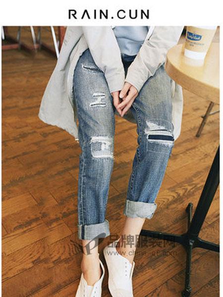 然与纯女装品牌2019春季宽松贴布补丁哈伦裤
