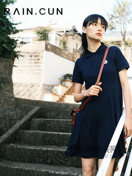 然与纯女装品牌2019春季宽松收腰短袖学生运动连衣裙短裙