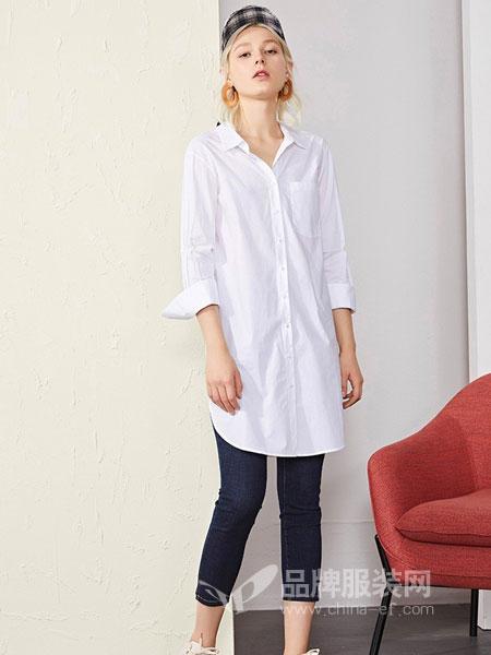 恩瑞妮女装品牌2019春夏新款单排扣系带简约衬衣