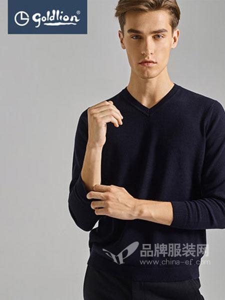 金利来男装(福建代理)男装品牌2018秋冬羊毛混纺舒适保暖纯色V领套头