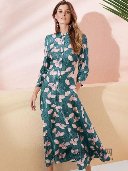 Lafayette148女装品牌2019春夏长袖修身印花连衣裙
