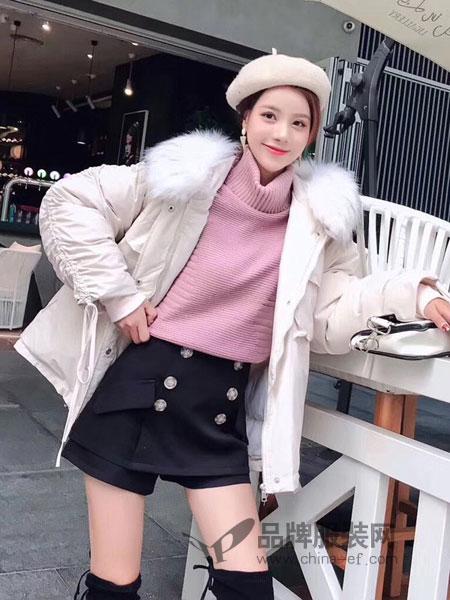 爱尚美女装品牌2018秋冬新款上衣修身显瘦百搭一字领毛衣