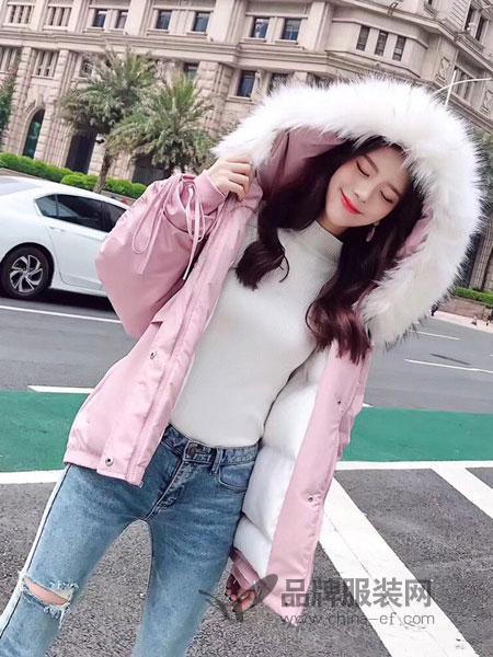 爱尚美女装品牌2018秋冬韩版短款羽绒棉服加厚棉袄