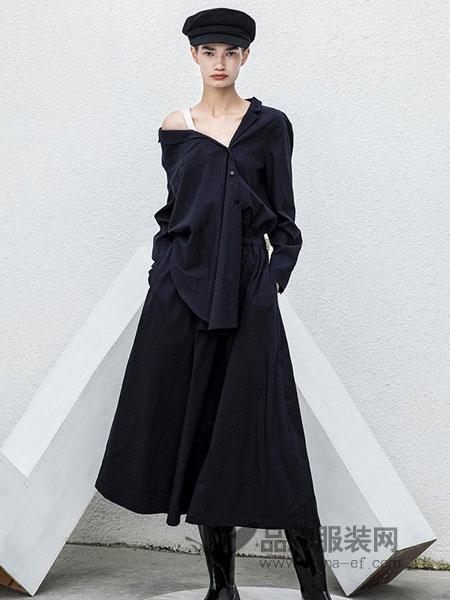 BAN XIAOXUE班晓雪女装品牌2018秋冬露肩修身针织丝绒裙