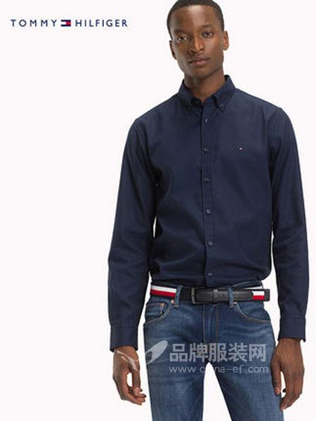 Tommy Hilfiger休闲品牌2019春季商务纯色长袖衬衫