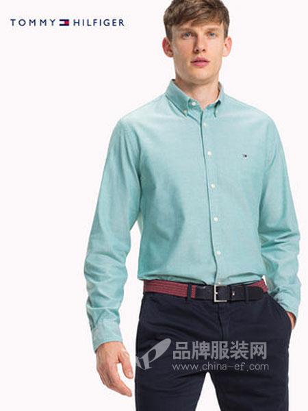 Tommy Hilfiger休闲品牌2019春季商务纯色衬衫