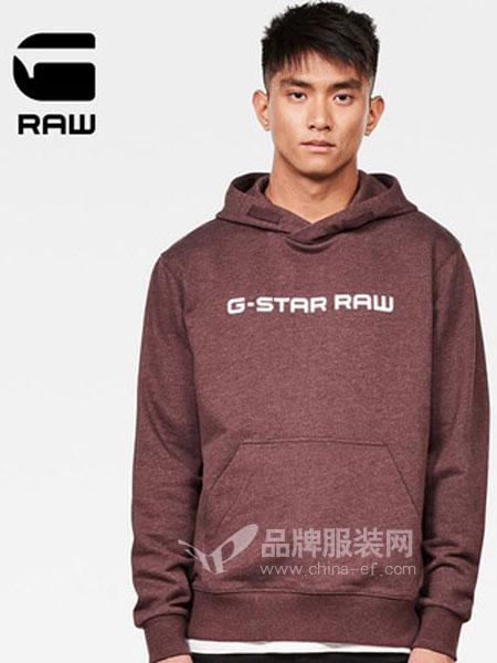 G-Star Raw休闲品牌2019春季长袖连帽套头卫衣纯色logo