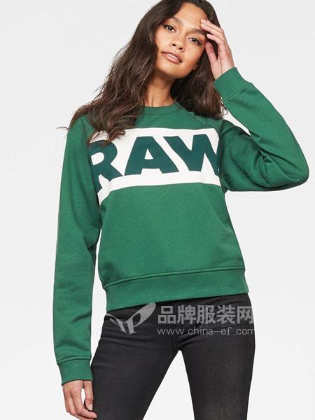G-Star Raw休闲品牌2019春季字母印花罗纹圆领休闲卫衣