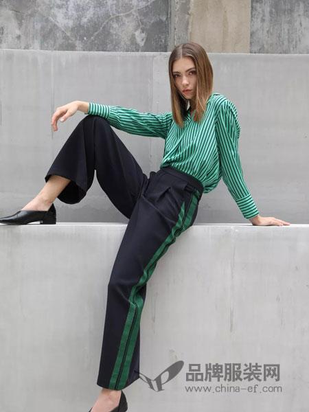 绽然女装品牌2019春季韩版淑女条纹两件套