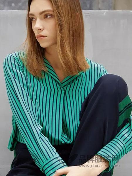 绽然女装品牌2019春季条纹修身衬衫套装
