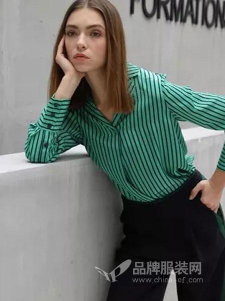 绽然女装品牌2019春季条纹上衣+高腰裤两件套