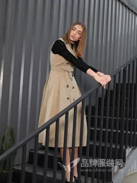 绽然女装品牌2019春季长袖修身马甲连衣裙