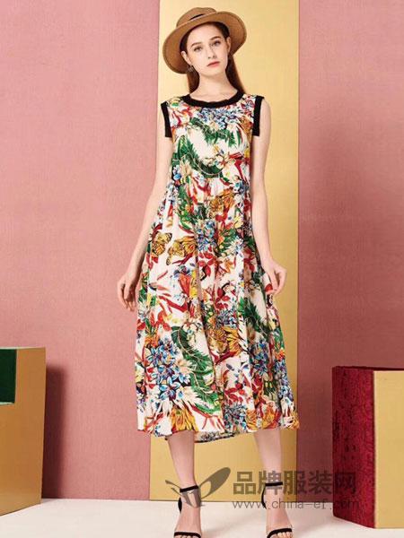 卡宴妮女装品牌2019春夏新款短袖真丝沙滩长裙桑蚕丝长款连衣裙