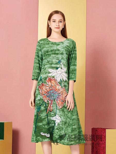 卡宴妮女装品牌2019春夏真丝桑蚕丝圆领中袖连衣裙修身显瘦中长款