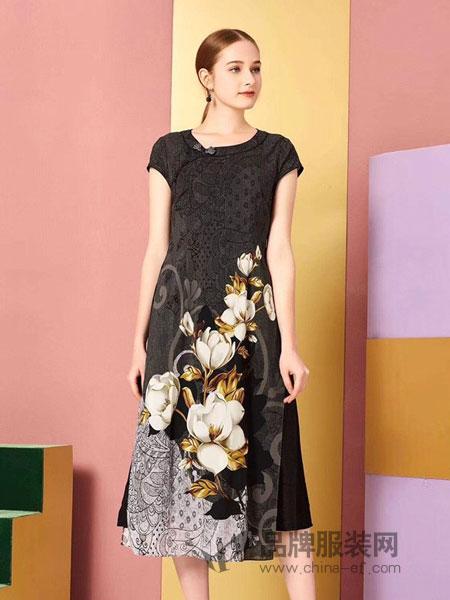 卡宴妮女装品牌2019春夏双层旗袍桑蚕丝两件套
