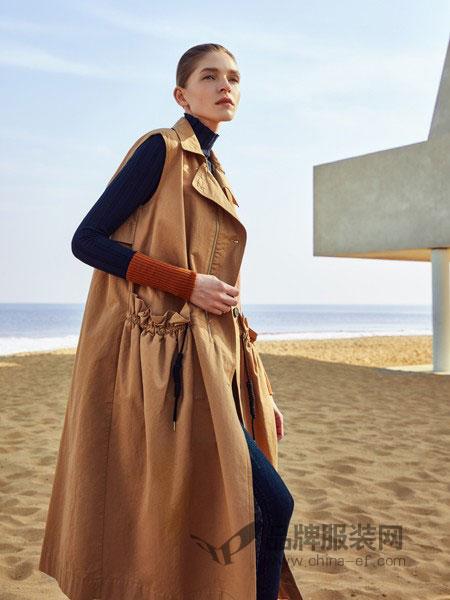 主提女装品牌2018秋冬新款丝羊绒过膝呢子大衣毛呢外套