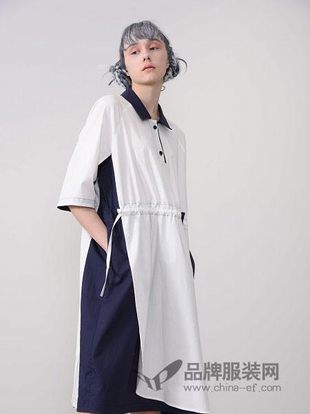 CHEN ZHAN.尘辗女装品牌2019春夏修身高腰衬衫连衣裙