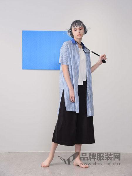 CHEN ZHAN.尘辗女装品牌2019春夏条纹衬衫两件套