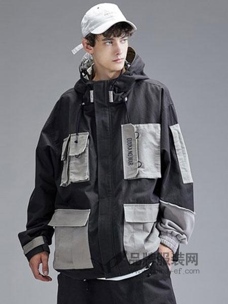 古由卡男装品牌2019春季嘻哈撞色拼接运动风衣宽松