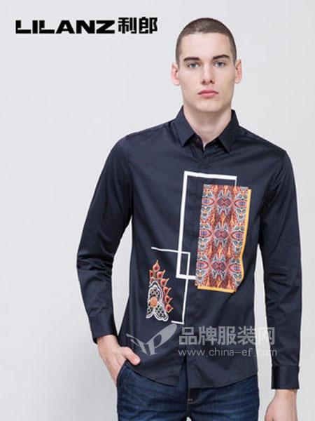 利郎男装品牌2019春季黑色艺术印花衬衣