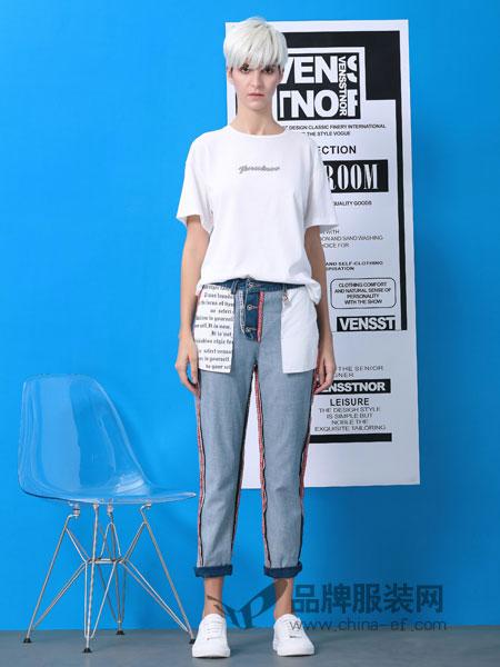 维斯提诺女装品牌2019春季纯棉圆领短袖T恤半袖