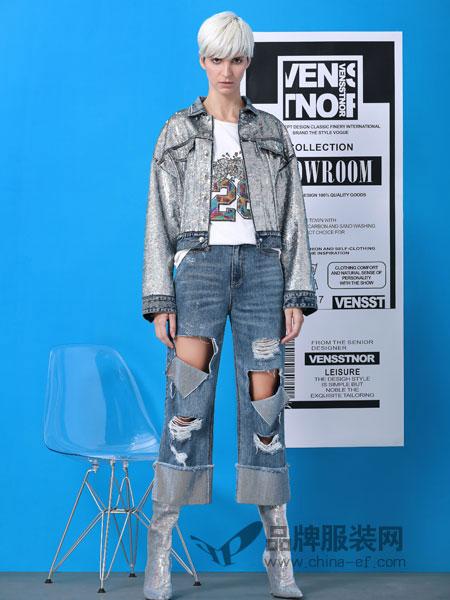 维斯提诺女装品牌2019春季黑色经典高腰紧身小脚裤