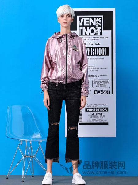 维斯提诺女装品牌2019春季新款亮面连帽外套