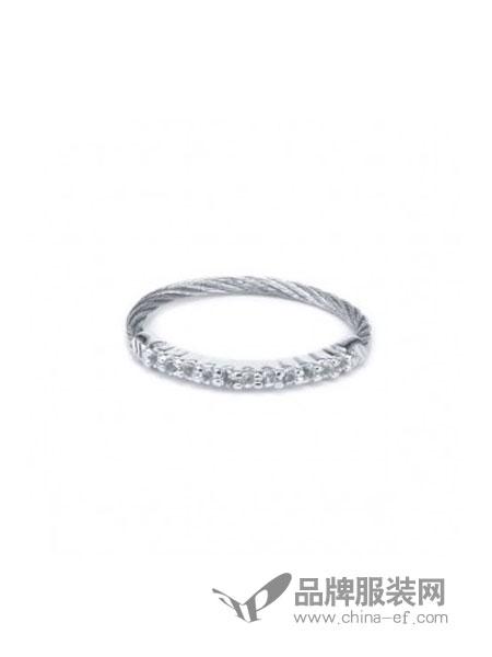 Charriol夏利豪女装品牌2018秋冬新款半环铺镶钻石铂金婚戒