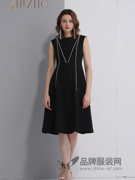 艾丽哲女装品牌2019春季无袖条纹高腰连衣裙