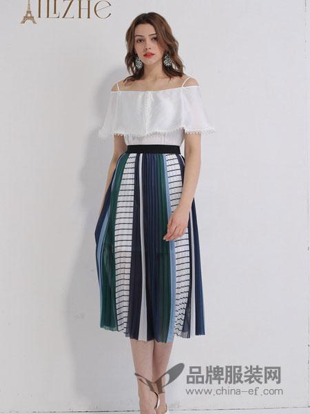 艾丽哲女装品牌2019春季一字领高腰修身连衣裙