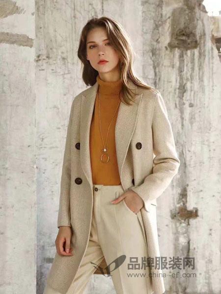 布莎卡女装品牌2018秋冬长袖修身双面呢外套