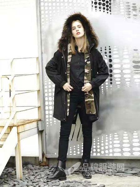 布莎卡女装品牌2018秋冬长袖修身中长款羽绒服