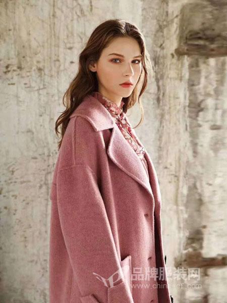 布莎卡女装品牌2018秋冬小清新百搭双面呢外套
