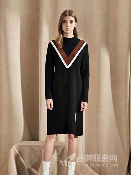 布莎卡女装品牌2018秋冬撞色不规则针织衫裙