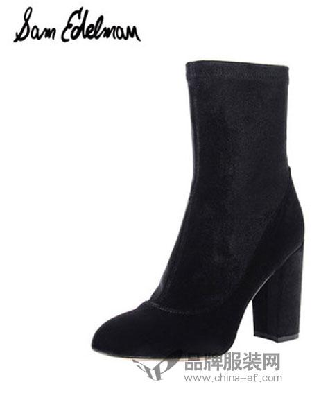 山姆·爱德曼鞋帽品牌简约圆头高跟短靴