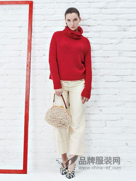 如缤RUBIN女装品牌2018秋冬纯色高领毛衣两件套
