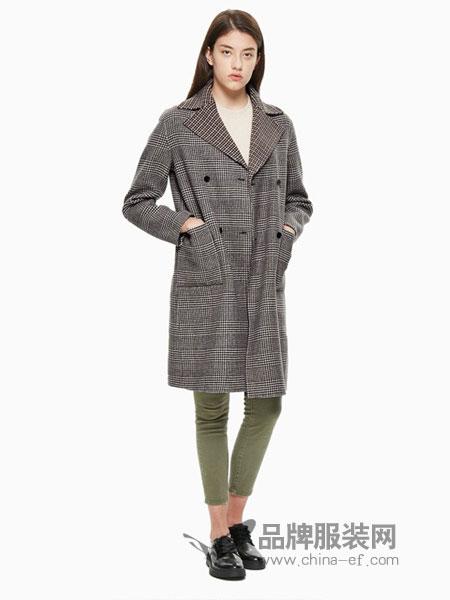 Calvin Klein休闲品牌2018秋冬新款韩版显瘦双排扣中长款双面气质条纹外套