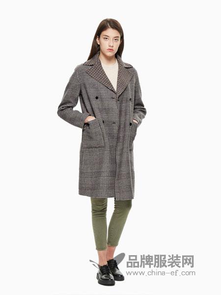 Calvin Klein休闲品牌2018秋冬中长款羊毛毛呢外套大衣