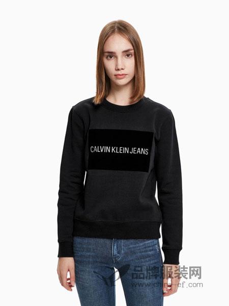 Calvin Klein休闲品牌2018秋冬印花圆领套头长袖卫衣