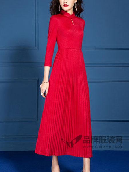 SUSONGETH/首尚格释女装品牌2019春季百褶裙子红色针织连衣裙
