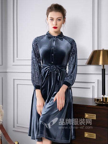 四英寸女装品牌2019春季丝绒中长款连衣裙