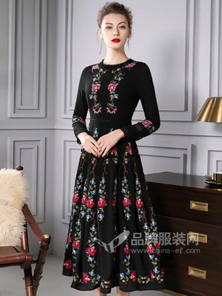 四英寸女装品牌2019春季优雅绣花拼蕾丝钩花连衣裙