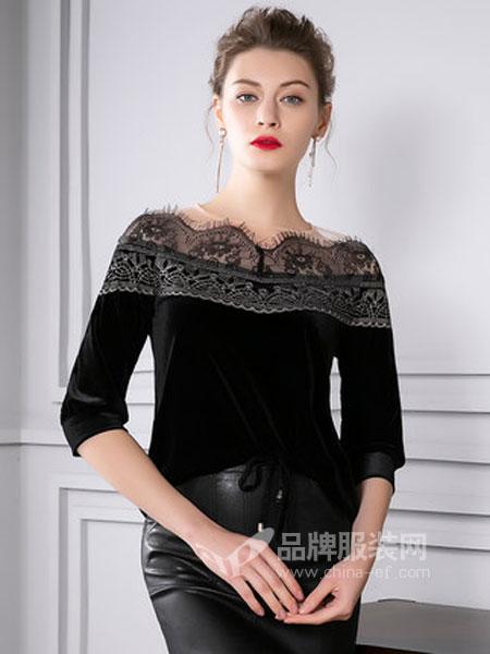 四英寸女装品牌2019春季复古流苏纱网蕾丝拼接丝绒系带T恤8