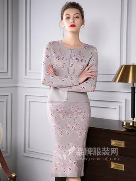 四英寸女装品牌2019春季提花毛织混纺包臀两件套装