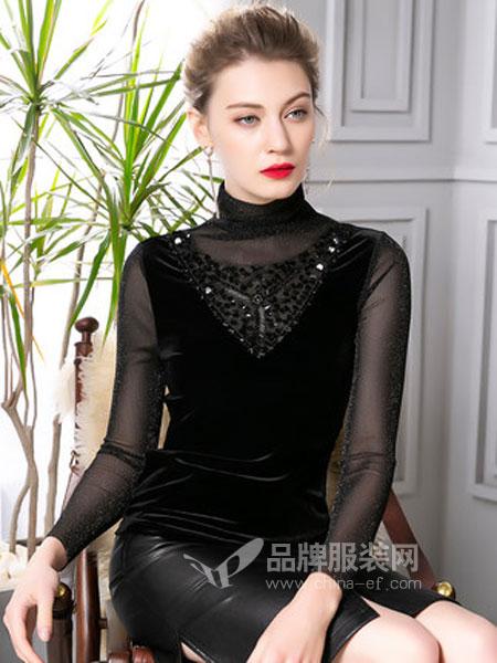 四英寸女装品牌2019春季假两件钉珠亮丝纱丝绒高领长袖T恤