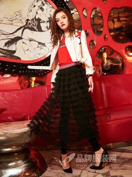 卡路斯carrousel女装品牌2018秋冬时尚百搭个性新款蛋糕裙拼接裤装假两件半身裙